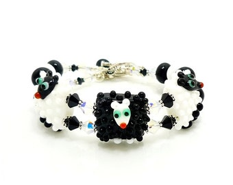 Sheep Bracelet, Beaded Bracelet, Lampwork Bracelet, Glass Bracelet, Statement Jewelry, Lampwork Jewelry, Glass Beads Jewelry, Sheep Jewelry