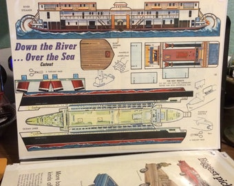 1968 Boys Life Down the river over the sea cut out. 13x 10 sheet un cut.