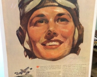 1944 United States Naval Aviation Pontiac Motor Division Ad. 10x13 great graphics.