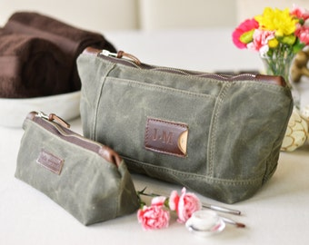 NO. 317 & NO. 275 Personalized Cosmetics Bag Set in Olive Green Waxed Canvas, Horween Leather, Matching Toiletry Travel Bags, Gift for Her