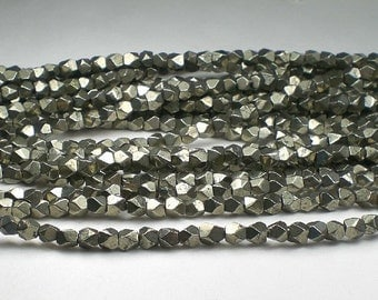 5mm Faceted Pyrite Nugget Beads Pyrite Beads 30 pcs.