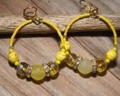 Dangle Hoops, A beautiful Sun, yellow turquoise, agates,rhinestones