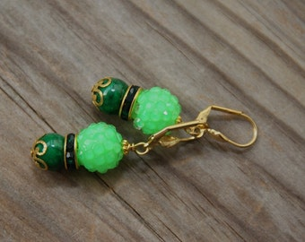 dangle earrings Neon Green #38