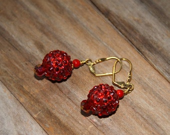 Dangle drop, Red rhinestone bead ball