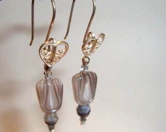 Grey and White Tulips Hang from Sterling Silver Ear wires with Heart Designs - Handmade - Sterling Silver Earrings - SRAJD