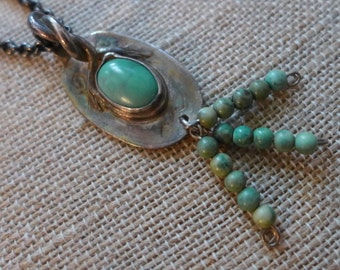 Silver and  green Turquoise Pendant,  Dangling round green turquoise Beads