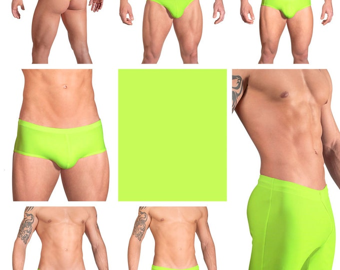 Solid Neon Yellow Swimsuits for Men by Vuthy Sim.  Choose Thong, Bikini, Brief, Squarecut, Boxer, or Board Shorts - 12