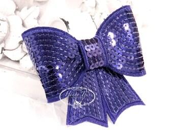 "Set of 2 - XL Sequin Bows - 3"" Metallic PURPLE Eggplant Sequin Bow Tie Appliques. Hair Accessories. Diy Supplies. Large Sparkling Bow"