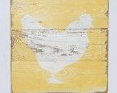 Farm Art, Hen on Reclaimed Fencing Wood