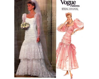 80s Ruffled Hem Wedding Dress Pattern Vogue Bridal Original 1826 Boned Bodice Puff Sleeves Petticoat Gown Pattern Size 8 Bust 31 1/2 Inches