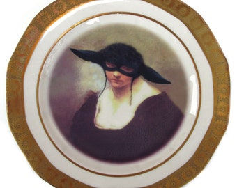 Portrait of The Black Sheep - Altered Vintage Plate 6.5""