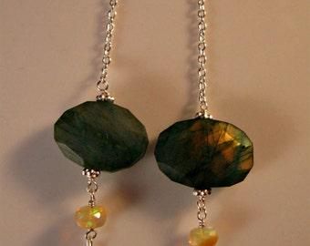 Labradorite Opal earrings,fire opal earrings,labradorite earrings,dangle earrings,drop earrings,gemstone earrings,labradorite,opal