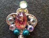 Malika Bindi, re-useable bellydance / festival tikka , turquoise pink and gold
