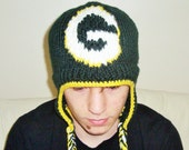 Green Bay Packers Hat Knitted Green and Yellow Boy or Adult Men Beanie Costume football tailgating