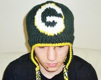 Green Bay Packers Knit Hat, Winter Hat,  Men's Accessories, Green Bay Packers , Green Bay, Hand Knitted Hat, Green Yellow Hat