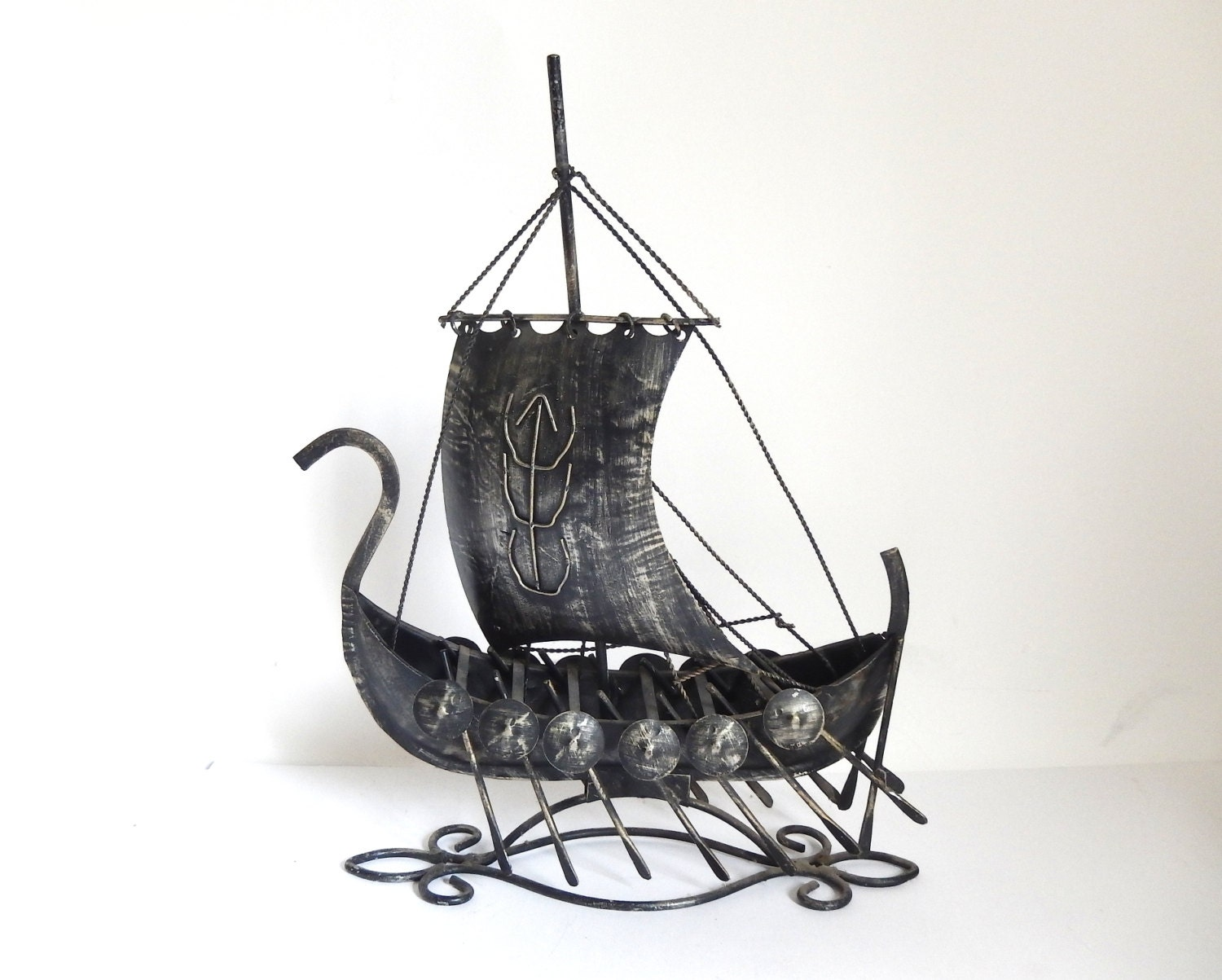 Vintage 1970's Metal Viking Warrior Ship Sculpture by JoeBlake