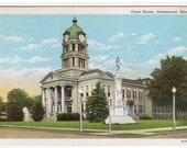 Court House Greenwood Mississippi linen postcard