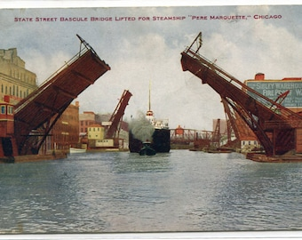 Steamer Pere Marquette State Street Bascule Bridge Chicago Illinois 1911 postcard