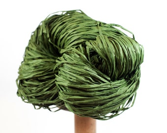 Dark Green Paper Raffia - Paper Ribbon: 260 yards (240m) - Fiber Arts, Knit, DIY, Gift Wrapping, Weave, etc. - Handwash