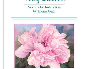 """Tutorial Painting of """"Peony"""" How to Paint Watercolor, Instant Download"""