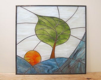 Tree Stained Glass Panel Modern Blue Sunrise Stained Glass Window Panel Handmade - Windy Sunrise II