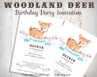 Woodland Deer Birthday Party Invitation - Baby Deer- First Birthday Party Invitation- Shabby Chic Baby Shower