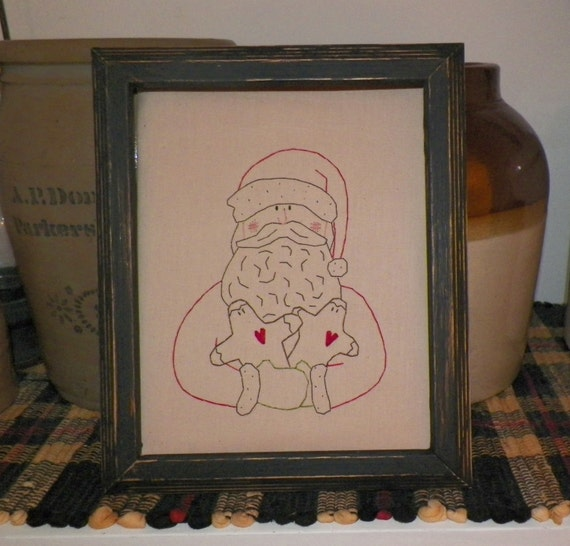 UNFRAMED Christmas Santa Claus Gingerbread Men Primitive Stitchery 8x10 Picture Country Home Decor Seasonal Decoration Stitched wvluckygirl