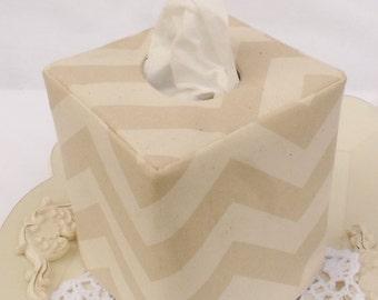 Beige / Ivory Chevron reversible tissue box cover