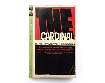 """Saul Bass book cover design, 1964. """"The Cardinal"""" by Henry Morton Robinson"""