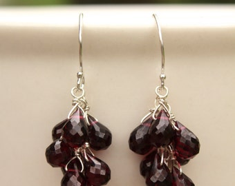 Garnet Cluster Earrings, Gold, Silver, January Birthstone, Jewelry, Garnet Earrings, Dangle Earrings, Drop, Cascade, Waterfall Earrings