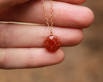 Small Fire Agate Pendant, Orange Agate Necklace, Fire Agate Necklace, Minimalist, Dainty Necklace, Delicate, Layering Necklace, Layered