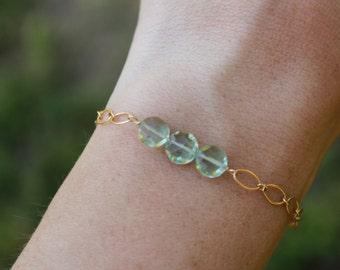 Green Amethyst Bracelet, Green Gemstone, Gold Fill, Sterling Silver, Green Amethyst Bar Bracelet, Healing Stone, Chakra Bracelet, Chain