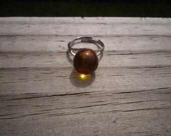 Amber Sphere Adjustable Ring