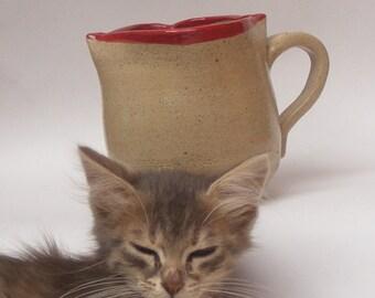 Stoneware Mug Lip Mug No. 5  Mouth Mug, Gorgeous Christmas Gift