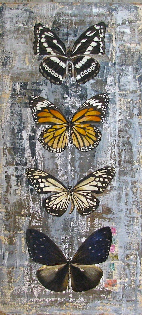 Butterflies original acrylic painting on reclaimed rustic wood