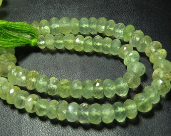 10 inches Full Strand  - SO Gorgeous - Green -  PREHNITE - Micro Faceted  Rondell Beads Huge  size - 7  mm approx