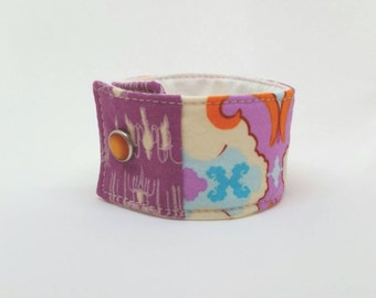 Quilted Fabric Boho Cuff Bracelet Cotton Jewelry Custom Boutique Wristband