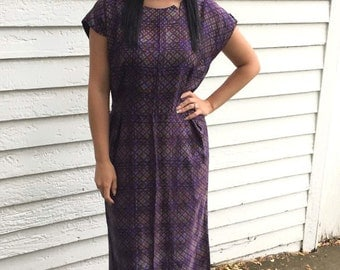 Vintage 60s Print Dress L XL AS Is 1960s