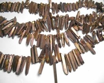Gemstone Quartz Points, Dagger Shape Quartz,  Chocolate Brown Electroplate finish, 18-30mm   Sold by 4-6  pieces
