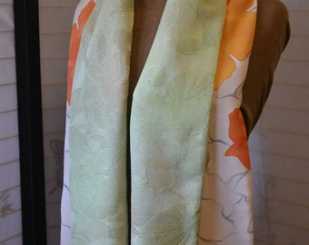 kimono silk scarf in spring colors of ivory, orange, gold and green