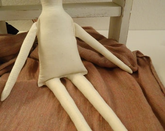 "NEW-1 Primitive 16"" Muslin Zelda Doll Body-rag doll form-assorted colors"