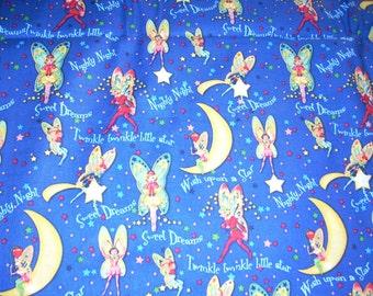 "Fairies, moons and stars -  Night time, Sweet dreams - Cotton fabric  -  14"" wide - sold by the yard"