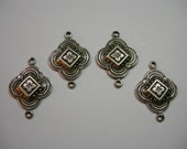 Antique Silver Plated Victorian Drops Dangles Connectors Earring Findings - 4