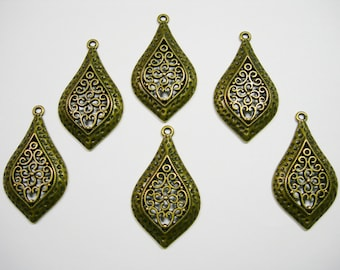 Antiqued Brass Filigree Drops Earring - Pendant - 46mm - 6