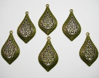 Antiqued Brass Filigree Drops Earring - Pendant - 46mm - 6