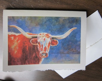 Longhorn Steer, 5 x 7 note card watercolor print Texas Cattle Cow watercolorsNmore