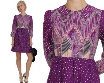 1970s Betty Barclay Boho Minidress / 70s Purple Cotton Summer Dress / S