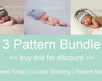 3 Pattern Bundle KNITTING PATTERNS - newborn hats, baby, instant download