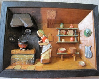 Vintage Diorama European Folk Art