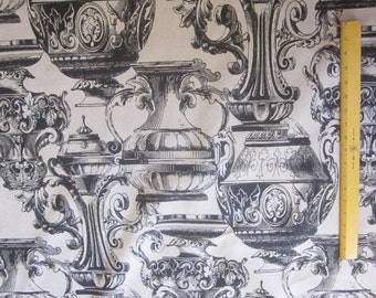 Vase Home Dec FABRIC with Black Vases and tan canvas style cotton  56 inches wide - SOLD by the Yard